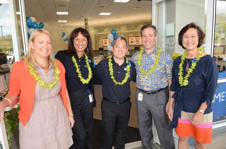 American Savings Bank executives on hand at the opening of the new Hawaii Kai branch at Hawaii Kai Towne Center, from left: Margaret Pettyjohn, director, Retail Banking; Kimmie Park, East Oahu regional executive; Dustin Matsudaira, Hawaii Kai branch manager; President and CEO Rich Wacker; Chairwoman Constance Lau.