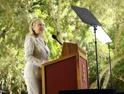 U.S. Secretary of State Hillary Rodham Clinton delivers a speech on U.S. relations with the Asia-Pacific region at the East-West Center in Honolulu.