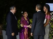 President Barack Obama and first lady Michelle Obama greet  Indonesian President Susilo Bambang Yudhoyono and his wife, Kristiani Herawati, before a state dinner for the leaders of the Asia-Pacific Economic Cooperation nations Saturday night at the Hale Koa Hotel in Waikiki.