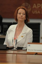 Australia's Prime Minister Julia Gillard at the 19th APEC Economic Leaders' meeting Sunday at the JW Marriott Ihilani Resort and Spa at Ko Olina in Hawaii.