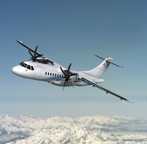 An ATR 42-600 is seen in this courtesy photo from ATR Aircraft. Hawaiian Airlines parent Hawaiian Holdings Inc. is acquiring two ATR 42 aircraft and plans to launch service to Lanai and Molokai next year.