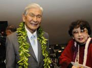 Former Hawaii Gov. George Ariyoshi and his wife, Jean, are seen at the opening day of the Hawaii Legislature's 2013 session Wednesday.