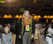 Allen Doane approaches the stage to accept the Business Leadership Hawaii Lifetime Achievement award at the Pacific Business News Business Leadership Hawaii event at the Sheraton Waikiki.