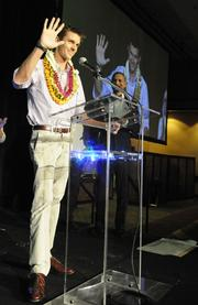 Scott Mercer accepts the Innovative Company of the Year award for Volta Industries at the Pacific Business News Business Leadership Hawaii event at the Sheraton Waikiki.