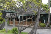 Buzz's Original Steakhouse restaurant, on Kawailoa Road across from Kailua Beach Park in Kailua, Hawaii, is popular with local residents and visitors.