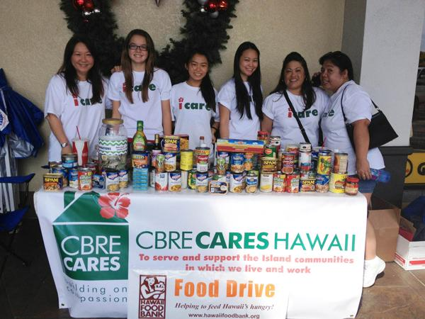 During the holidays, CBRE Hawaii collected more than 1,700 pounds of food and $3,000 in donations for Hawaii foodbanks statewide. The CBRE team, from left, is Regional Office Operations Manager Christine Sakaguchi, Caitlin Ciano, Nicole Sakaguchi, Administrative Assistant Jodi Uchida, Associate Angie Boncales and Senior Client Services Specialist Melissa Masicampo. They were participating at Aina Haina Shopping Center.