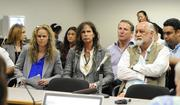 Attorney Dina Lapolt, Aerosmith's Steven Tyler and Mick Fleetwood are seen at a Hawaii Senate hearing Friday in Honolulu. The three testified in support of Senate Bill 465, Hawaii's proposed anti-paparazzi bill.