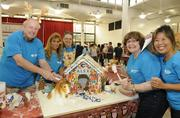 "Central Pacific Bank participated in the 13th-annual Easter Seals Hawaii Gingerbread Family Festival at the Blaisdell Center in early December. From left, Bill Wilson, chief credit officer, Erma Laudick, administrative assistant, Susan Morgenweck, ACH Specialist II, and CPB supporters Pat Shine and Sarah Ueki, with ""Alex's Gingerbread House."""
