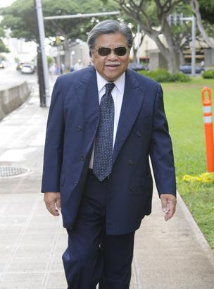 Former Hawaii Gov. Ben Cayetano is seen entering U.S. District Court prior to a hearing on a federal lawsuit over the Honolulu rail transit project. Cayetano is a plaintiff in the case.