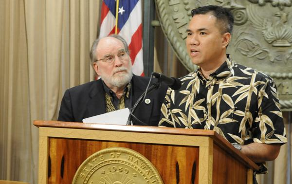 Gov. Neil Abercrombie, left, and state Finance Director Kalbert Young unveiled plans on Friday for the state to help offset some of the federal funding cuts Hawaii can expect because of sequestration.