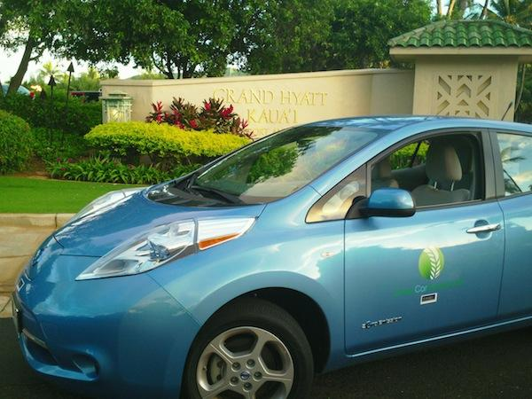 Roberts Hawaii has joined with GreenCar to operate shuttle buses that will take the electric car rental company's customers on Kauai from the airport in Lihue to three hotels in the Poipu Resort area, including the Grand Hyatt Kauai Resort and Spa, seen here.