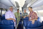 Hawaiian Airlines' new Airbus A330-200 aircraft received a Hawaiian blessing before its inaugural flight from Honolulu to Los Angeles last week. From left, Kahu Richard Kamanu of Kaumakapili Church in Honolulu; Lorrin Sardinha, vice president of Maintenance and Engineering for Hawaiian; Steve Borzilleri, managing director of Hawaii Maintenance for Hawaiian, and Jonathan Goo, senior director of Quality Assurance for Hawaiian are seen in the aircraft's cabin following the blessing.