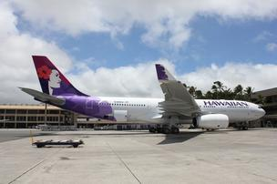 Hawaiian Airlines' newest Airbus A330-200 aircraft is seen here at Honolulu International Airport after arriving in Hawaii.