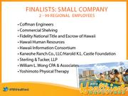 The finalists for Healthiest Employer in Hawaii in the small company category.