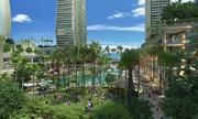 This rendering shows a large public plaza that is part of The Howard Hughes Corp.'s revisions to a master plan for the 60-acre Ward Centers in Honolulu's Kakaako neighborhood. The developer presented the plans to the Hawaii Community Development Authority on Wednesday.