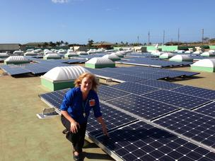 Walmart Kapolei store manager Janie Whitehead poses with the store's new solar photovoltaic system recently completed by SunEdison.