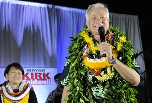 Honolulu Mayor Kirk Caldwell, seen in this Nov. 6 file photo from election night, was sworn in on Wednesday.