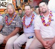 From left, newly appointed University of Hawaii offensive assistant coaches Tommy Lee, Chris Wiesehan and Philip Rauscher.