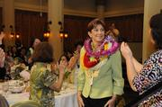 Leslie Wilcox, president and CEO of PBS Hawaii, reacts as she is named PBN's Businesswoman of the Year for nonprofits.