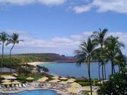 Lanai's Hulopoe Beach can been seen from the pool area at the Four Seasons Resort Lanai at Manele Bay, seen in this 2009 file photo.