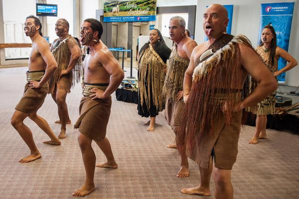 Maori dancers perform at Honolulu International Airport before the inaugural flight of Hawaiian Airlines' new service to Auckland, New Zealand.