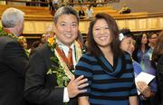 State Rep. Mark Takai, D-Aiea, and his wife, Sami, are seen on opening day of the Hawaii Legislature's 2013 session Wednesday.