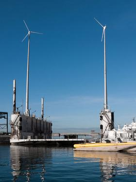 Navatek Ltd. installed two Renewegy VP-20 wind turbines at its Pier 41 site in Honolulu to reduce its energy consumption and production costs.