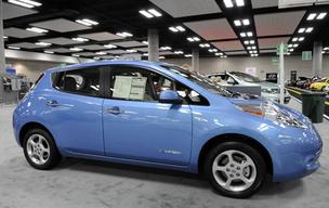 Sales of electric cars in Hawaii, such as the Nissan Leaf seen in this file photo, totaled 94 for the first five months of 2012, according to a report by the Hawaii Automobile Dealers Association.