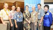 From left, Kevin Bumgarner of Pacific Business News; Mike Cheng of HMSA; state Insurance Commissioner Gordon Ito; Beth Giesting, the state's health-care transformation coordinator; Dr. Ginny Pressler of Hawaii Pacific Health; Ben Godsey of ProService Hawaii and Ellen Carson of Alston Hunt Floyd & Ing at the Pacific Business News health-care reform breakfast seminar Tuesday at the Plaza Club in Honolulu.