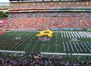 The half-time festivities at the Pro Bowl included men and women from all of the branches of the military marching and huge yellow ribbon. The NFL made an effort to involve the military this year by having practice at Joint Base Pearl Harbor-Hickam and by giving some servicemembers free tickets to the game.