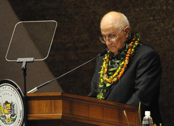 House Speaker Joe Souki of Maui pauses during his opening day speech at the Hawaii Legislature in Honolulu on Wednesday.