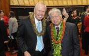 State Rep. Gregg Takayama, D-Pearl City-Pacific Palisades, left, poses with retired U.S. Sen. Daniel Akaka on opening day of the Hawaii Legislature's 2013 session Wednesday.