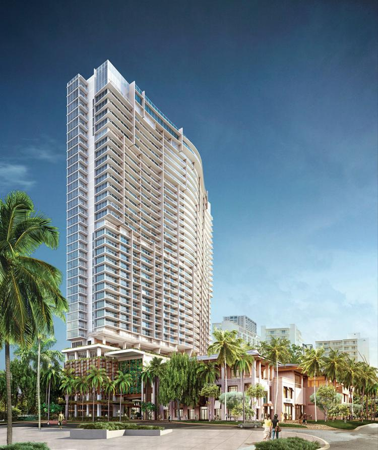 This updated rendering shows some of the design revisions developer Pacrep LLC has made to the 2121 Kuhio condominium hotel project, which is being marketed as The Ritz-Carlton Residences, Waikiki Beach.