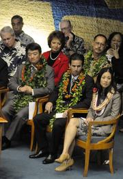 From left, Lt. Gov. Shan Tsutsui, U.S. Sen. Brian Schatz and his wife, Linda, are seen in the Senate chamber on opening day of the Hawaii Legislature Wednesday.