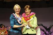Virginia Pressler, executive vice president and chief strategic officer for Hawaii Pacific Health, poses with Leslie Wilcox, president and CEO of PBS Hawaii and PBN's Businesswoman of the Year for nonprofits.