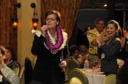 Kelly Hoen, general manager of The Royal Hawaiian, reacts as she is named PBN's Businesswoman of the Year for for-profit commpanies.