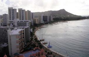 Hotel occupancy on Oahu, which includes Waikiki, seen here in this file photo, rose 9.6 percentage points during the week ending March 17 to 88.1 percent, ccording to a report by Hospitality Advisors LLC and Smith Travel Research.