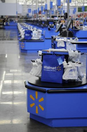 The bagging area is seen in the new Walmart store in Kapolei, Hawaii, which opened on Wednesday.