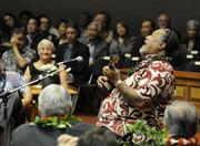 Hawaiian entertainer Willie K. performs for the Senate on opening day of the Hawaii Legislature's 2013 session Wednesday.