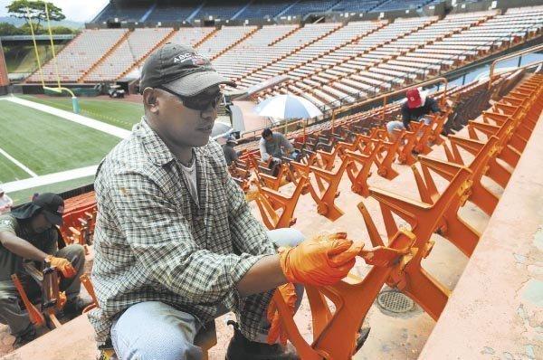 Work slows at Hawaii's Aloha Stadium as officials discuss