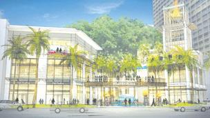 TRG IMP LLC recently filed a draft environmental impact statement for the proposed $300 million redevelopment of the International Market Place in Waikiki, shown in this rendering as it would look from Kalakaua Avenue.