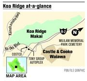 The map shows the proposed location of Koa Ridge off the H-2 Highway.