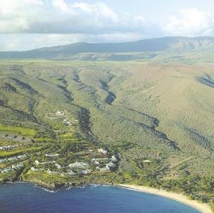 This aerial view of the Lanai coastline highlights the Four Seasons Resort Lanai at Manele Bay. Billionaire David Murdock, who owns the resort and 98 percent of the island, is trying to sell Lanai.