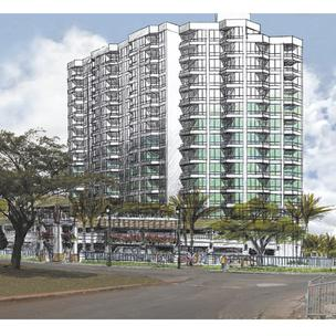 The Pacific Housing Assistance Corp.'s plan to start construction on the Senior Residence at Iwilei, seen in this rendering, has been pushed back to late 2013.