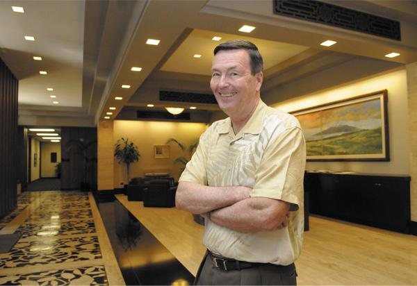 Former Alexander & Baldwin CEO Allen Doane, shown here in the main lobby of A&B's Bishop Street headquarters, says he enjoys playing 'small ball' these days.