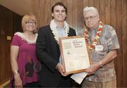 From left, Kathy Tosh, executive secretary of the Hawaii American Society of Landscape Architects, Chapter President Brian Wolf and Vice President Paul Weissich recently presented its Malama Aina Award to Friends of Honolulu Botanical Gardens and Auwahi Forest Restoration.