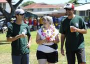 From left, Sean Knox, president of Hawaii Employer Services; Vicki Craun, owner of Island Nurses; and, Scott Meichtry, executive vice president for The Hawaii Group, show support for an annual fundraising kickball tournament for the Scott S. Craun Foundation at Kilauea District Park. Proceeds go directly to patients with myeloma.