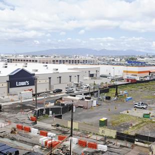 Lowe's, Home Depot and City Mill are now all within a stone's throw of each other in Iwilei. Lowe's bought the 14-acre site along Nimitz Highway and Pacific Street, which is shown above, at a cost of $35 million in 2005.