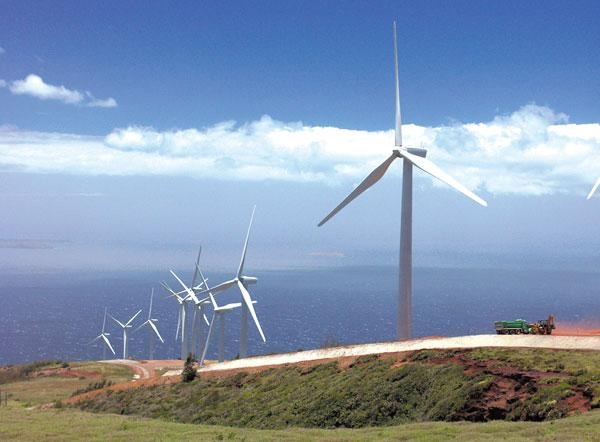 First Wind has started work on a program to preserve the population of threatened or endangered Hawaiian seabirds in West Maui, several miles from the company's Kaheawa Wind project, seen in this file photo.