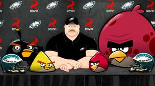A still from the Andy Reid/Angry Birds YouTube video.